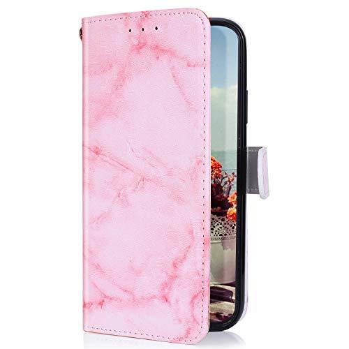 Uposao Kompatibel mit Samsung Galaxy A7 2018 Hülle mit Bunt Muster Motiv Brieftasche Handyhülle Leder Schutzhülle Klappbar Wallet Tasche Flip Case Ständer Ledertasche Magnet,Rosa Weiß
