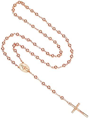 ZGYFJCH Co.,ltd Collar con Rosario Color Rosa Rosa Collar religioso católico con Cruz Colgante Crucifijo Cuentas de oración Regalos