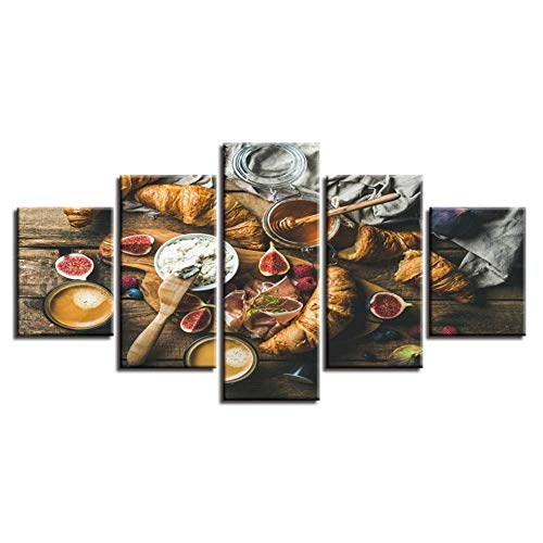Relovsk Wandkunst Leinwand Hd Drucke Bilder 5 Stücke Brot Granatapfel Gemälde Modulare Lebensmittel Obst Poster Küche Restaurant Wohnkultur_40x60cmx2 40x80cmx2 40x100cmx1