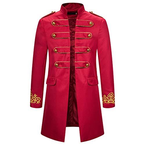 AmyGline Steampunk Herren Mantel Vintage Frack Jacke Gothic Smocking Gehrock Stehkragen Anzug Abendkleid Uniform Gestickter Knopf Mäntel Cosplay Kostüm