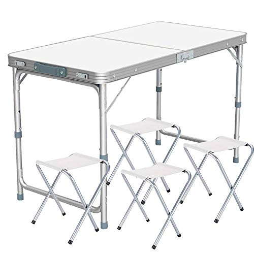 Lumiereholic - Mesa Plegable para Picnic o jardín, Mesa de Camping, Ajustable, Mesa Plegable portátil con 4 sillas Color Blanco (120 x 60 x 70 cm)