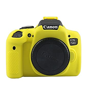 750D Silicone Case TUYUNG Camera Housing Case Protective Cover Compatible with Canon EOS 750D Rebel T6i Camera Yellow