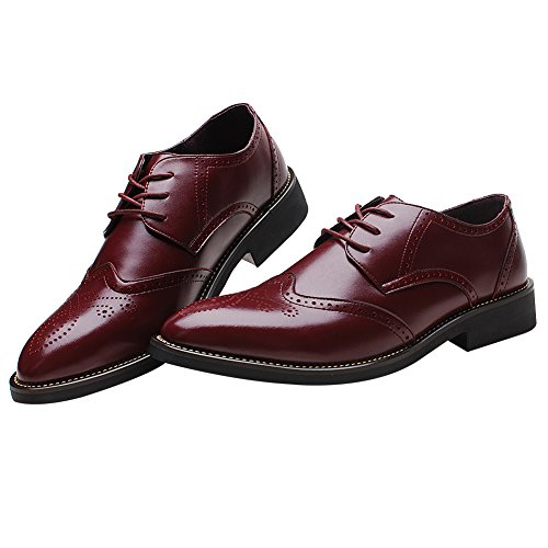 Rismart Men's Office Dress Brogue Leather Oxfords Shoes(Burgundy US8.5) SN16856