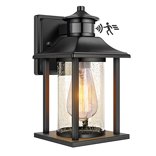 Exterior Outdoor Wall Lantern with Motion Sensor, Waterproof Dusk to Dawn Porch Light Fixtures Wall Mount, Anti-rust Wall Sconce with Seeded Glass for Entryway Doorway Garage Balcony, Motion Activated
