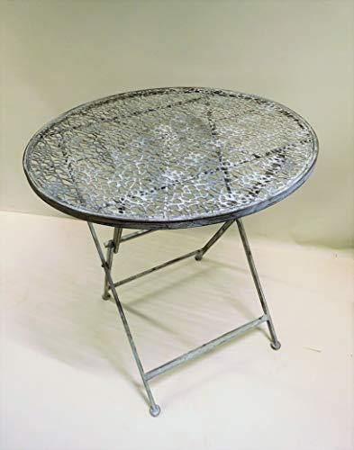 Ziegler Gartentisch Klapptisch Metalltisch Beistelltisch Eisentisch Garten Terrasse Dekotisch Dekoration Tisch Metall rund grau Shabby 70 cm SW190203