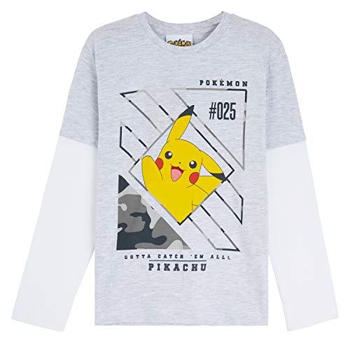Pokémon T Shirt Bambino, Maglietta Maniche Lunghe in Cotone, Abbigliamento Bimbo E Ragazzo 3-13 Anni, Magliette Pikachu E Pokeball, Idea Regalo Compleanno (5-6 Anni, Grigio e Bianco)