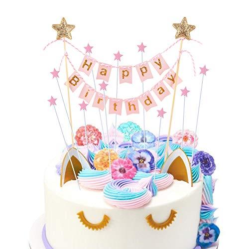 HANGNUO Tortendeko Geburtstag, Cake Topper, Tortendekoration Kuchendeko, Kuchengirlande Wimpelkette, Happy Birthday Tortenstecker, Star Cake Topper für Kindergeburtstag Party Mädchen Junge (11Stück)
