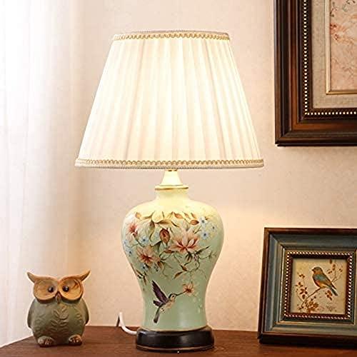 JFFFFWI Lámpara de Mesa para niños, para Mujer, atmósfera, Hecha a Mano, Alma, luz Nocturna, Flores de Primavera, Enredaderas y pájaros, Acabado Pintado a Mano, Accesorio Nuevo, Grabado Chino, Panta