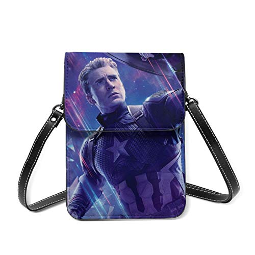 Avenger - Monedero pequeño de piel para mujer con correa de hombro extraíble, cartera con compartimentos para tarjetas de crédito