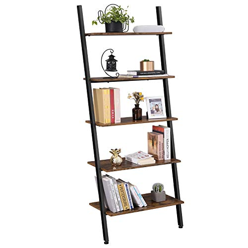 VASAGLE Alinru Ladder Shelf Leaning Shelf, 5-Tier Bookshelf Rack, for Living Room Kitchen Office, Stable Steel, Industrial Furniture , Rustic Brown ULLS46BX