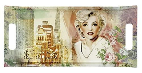 Lashuma Bandeja decorativa de melamina, diseño de Marilyn con asas, 41 x 19 cm, rectangular