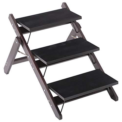 Pawhut Escalier pour Chien Animaux Pliable Rampe 3 marches dim. 79L x 42l x 48H cm Bois pin revêtement marches Velours Chocolat