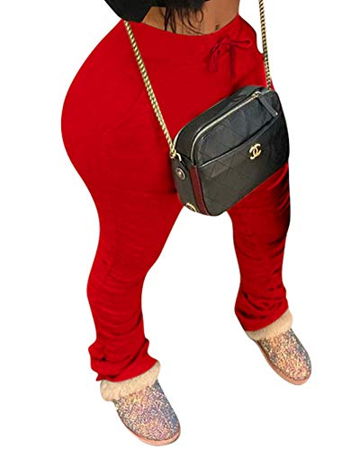 Running Pants for Women Workout Athletic Jogger Sweatpants Ruched Skinny Trousers with Pockets X-Large Red
