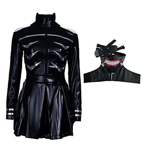 sujinxiu Kaneki Ken Disfraz de Cosplay Conjunto completo Trajes de juego de rol de anime Vestido negro con espalda abierta para fiesta de Halloween