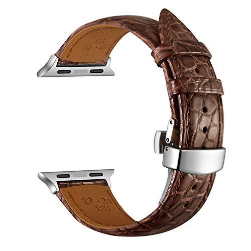FRTU Compatible con la Banda de Reloj de Apple 44mm 42mm 40mm 38mm, Banda de reemplazo de Cuero de cocodrilo Redonda Compatible con iWatch Series 6 SE 5 4 3 2 1(42 / 44mm, Brown-Silver Buckle)