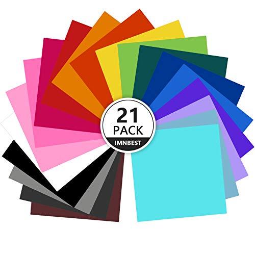 "ImnBest- Láminas de vinilo, con respaldo adhesivo permanente, 21 láminas de vinilo 12"" x 12"", 21 colores surtidos para máquinas de corte, siluetas."