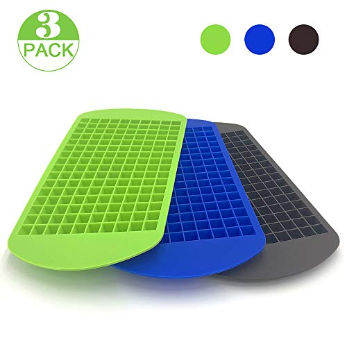 cheap 3 packs of recycled ice trays.  160 mini cubes. Ice cube tray, non-toxic food grade silicone, odorless.