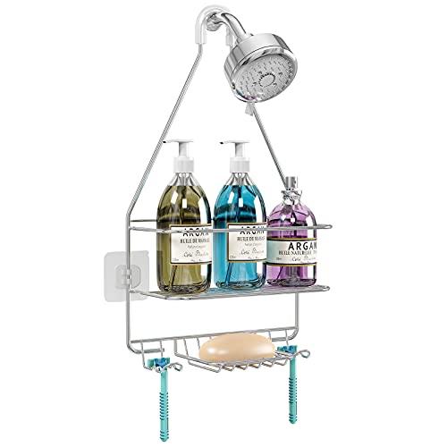 KeFanta Hanging Shower Caddy, Shower Organizer Shelf, Bathroom Storage Rack Over Shower Head, Shampoo Soap Holder, Stainless Steel