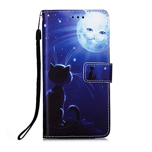 Nadoli Leder Hülle für Xiaomi Redmi Note 9 Pro,Bunt Katze Sonne Malerei Ultra Dünne Magnetverschluss Standfunktion Handyhülle Tasche Brieftasche Etui Schutzhülle