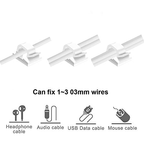 Cable Clips 60 Pcs Wire Clips White, Self Adhesive Electric Wire Wall Clips, Cable Management Clips for Cable Wire Clamp, Wire Holders Organizer for Wall, Cord Organizer Office, Car by Seaforth Home