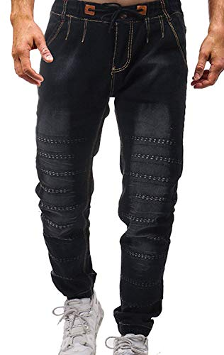 MaoDaAiMaoYi heren denim jeans lange broek bermuda vouwen mode denim sweatpants gat mode Living Tether elastisch retro used look mode design lange broek
