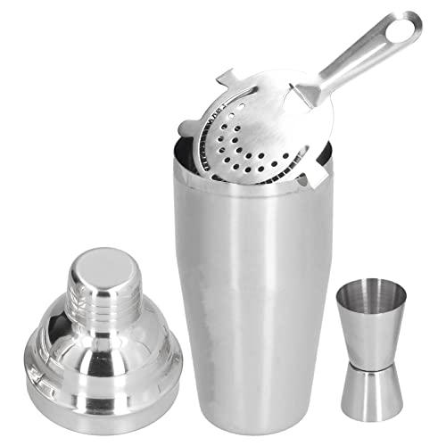 Juego de coctelera, juego de herramientas para bar de acero inoxidable de 750 ml con colador Coctelera de taza para bar de bar(Plata)