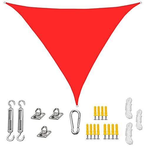 GOODLUKY Sun Shade Sail Triangle, 90% Bloque UV Impermeable Toldo De Tela Oxford con Kit De Fijación para Jardín Al Aire Libre Playa Patio Varios, Tamaños Disponibles, Rojo,2.4×2.4×2.4m