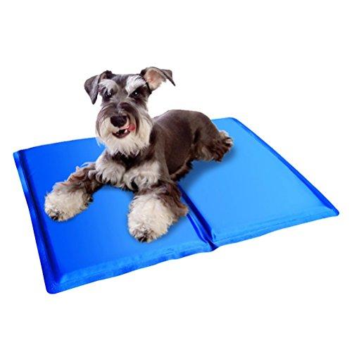 TEHAUX Colchoneta Plegable de Verano para Mascotas Perros Transpirables Gatos Almohadilla de enfriamiento de Verano Colchoneta para Dormir Almohadilla de disipación de Calor 40 x 30 cm (Azul)