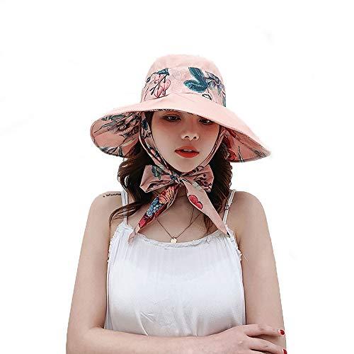 LLCX Sombrero para Las Mujeres del Verano Sombrero para el Sol Plegable Impreso en Forma de Arco Sombrero de Playa Amplia brimned-es Resistente a los UV, Ideal cruceros y Accesorios de Vacaciones,A
