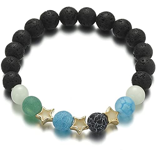 Qtlsgh Pulsera Sra. Sra. Volcanic Stone Night Pearl 8mm Piedra Natural Pentagon Star Shining Bracelet