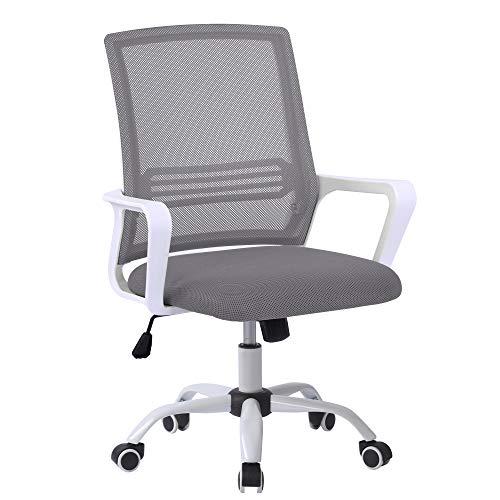 Silla de oficina ergonómica con altura regulable, con función de balancín, reposabrazos, silla de escritorio para oficina y oficina en casa, color gris