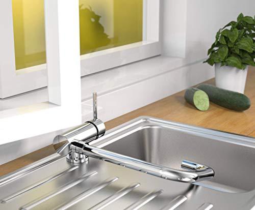 SCHÜTTE 24550 Küchenarmatur WINDOW, Wasserhahn Unterfenster, Spültischarmatur Vorfenster, Wasserhahn umklappbar 360° schwenkbar Einhebelmischer Fensterarmatur, Chrom
