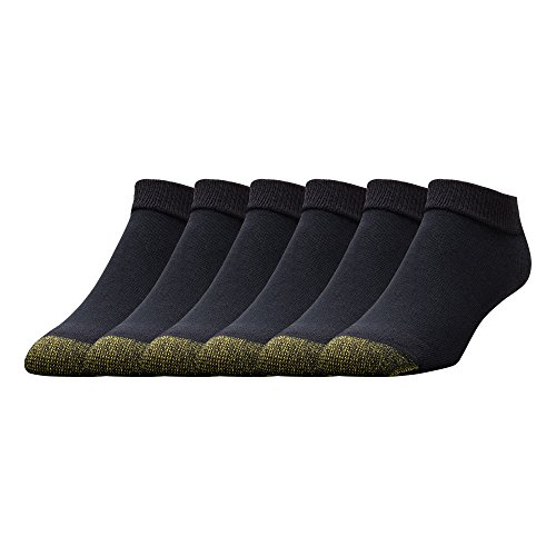 Gold Toe Men's Cotton Low Cut Sport Liner Socks, Black (6 Pairs), Shoe Size: 6-12