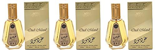 Lote de 3 fragancias OUD MOOD de 50 ml de Ard Al Zaafaran Attar Árabe para hombre y mujer, un perfume de larga duración con un toque oriental de madera, ámbar, balsámico, floral, resina y Oudh