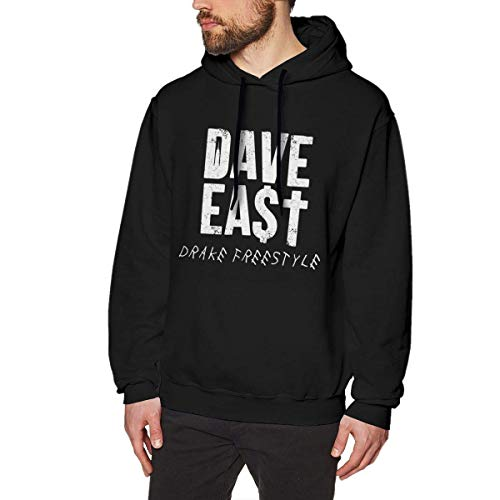 Tengyuntong Herren Kapuzenpullover, Hooded Sweat, Dave East Fashion Men's Hat and Pocketless Sweater Black