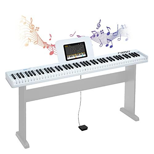 FVEREY 電子ピアノ 88鍵盤2021年最新の改良版折り畳みキーボード ピアノ高音質 携帯型デジタルピアノ 軽量小型 MIDI対応 長時間利用可能 練習にピッタリ ピアノと同じ鍵盤サイズ 収納便利 譜面台付属 初心者向け 子供練習用(白)スタンドなし