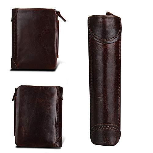 Qiy Mens drievoudige portemonnee, echt leer, multifunctionele, ID Window Card Case met RFID-blokkering, dubbele rits, portemonnee voor mannen, koffie