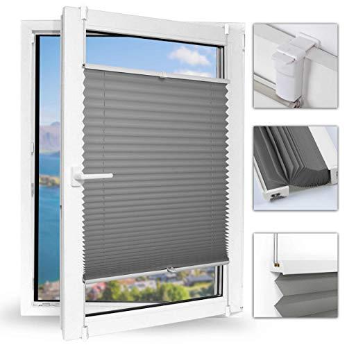Achollo Plissee klemmfix ohne Bohren Plisseerollo Jalousie Sonnenschutz 35 x 100cm (BxH) (Grau) Seitenzugrollo Faltrollo für Fenster und Tür