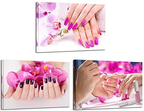DOLUDO 3 Stücke Leinwanddrucke Lila Orchidee Blumen Nagel Malerei Wandkunst Hände Spa Bilder Schönheitssalon Maniküre Poster für Nagelstudio Wände Decor 30x50cmx3 (mit Rahmen)