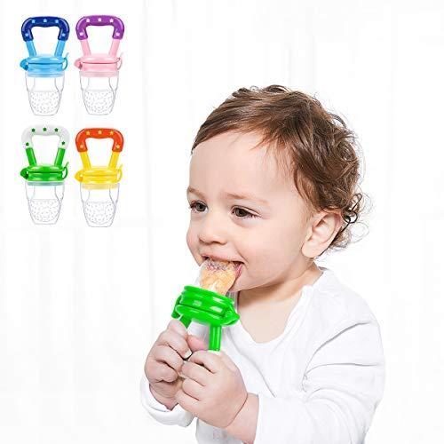 Laelr Fruchtsauger für Baby, 4 Stück Schätzchen Schnuller Gemüse sauger für Schätzchen Schnuller Beißring für Obst Gemüse Brei - 6