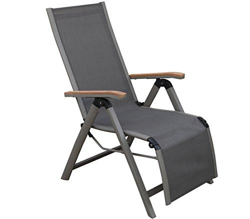 Dehner Relaxsessel Colmar, klappbar, ca. 110 x 59 x 73 cm, Textilen/Aluminium/FSC® Teakholz, anthrazit