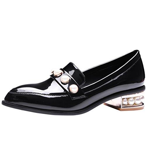 AIYOUMEI Damen Lack Pumps mit Blockabsatz und Perlen Schuhe Kleiner Absatz Schwarz 39.5 EU