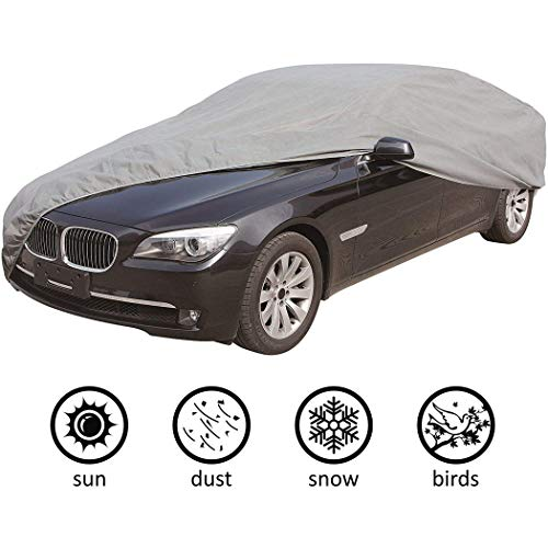 CARTMAN 5 Layers Car Cover Sedan Cover Windproof/Dustproof/Scratch Resistant Outdoor UV Protection, Size:4XL - Fits Sedan up to 225'