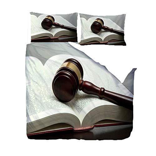 FAIEK Bettbezug Kissenbezug 3 Teilig Home School Schlafsaal Hostel Bequem Weich Bettwäsche Sets Optionale Größe Gesetz Gerechtigkeit Hammer-Single- 140X200CM