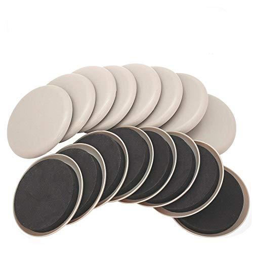 Ezprotekt 16 Stück Wiederverwendbare Möbelgleiter und Gleiter 3,5 Zoll/89mm für Teppichoberflächen - Schwere Möbel Schnell und Einfach Bewegen mit Möbelgleiter Rund Beige