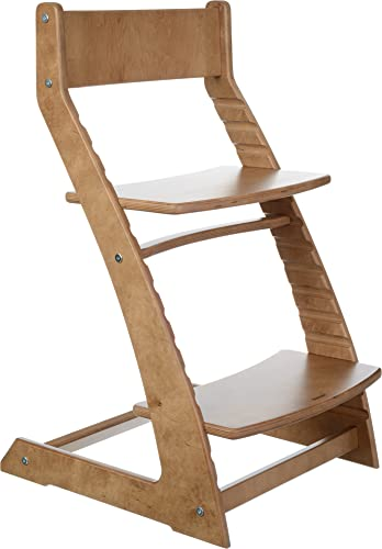 Walnut Fornel Adjustable Wooden High Chair Baby Highchair Solution for Babies and Toddlers Dining Highchair from 24 Months