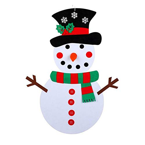 Alftek DIY Fieltro Árbol de Navidad DIY Fieltro Navidad muñeco de Nieve Juego de Pared Colgante extraíble...