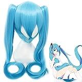 Anime Vocaloid Cosplay Peluca Hatsune Miku Disfraz Degradado Azul Pelucas Con Coletas Fiesta De Halloween Pelo Miku Peluca Azul Y Gorra De Peluca Talla Única Hatsune Miku Peluca 14