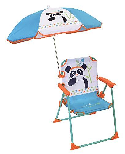 FUN HOUSE 713096 Panda Chaise Pliante avec Parasol pour Enfant, Blanc