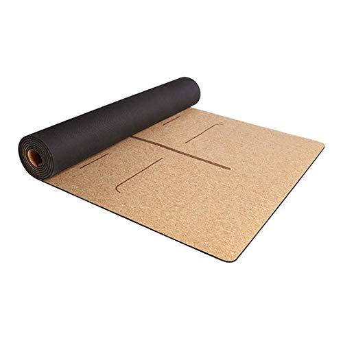Kuingbhn Esterilla de yoga de 4 mm de caucho natural de corcho esteras de yoga antideslizante ejercicio deportes pilates Yoga Mat para el gimnasio en casa